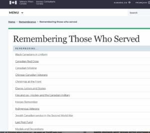 Veterans Affairs Canada website
